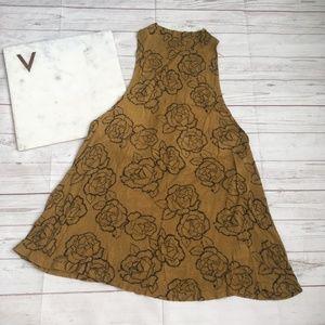 sun & shadow womens xxs yellow printed tank top op